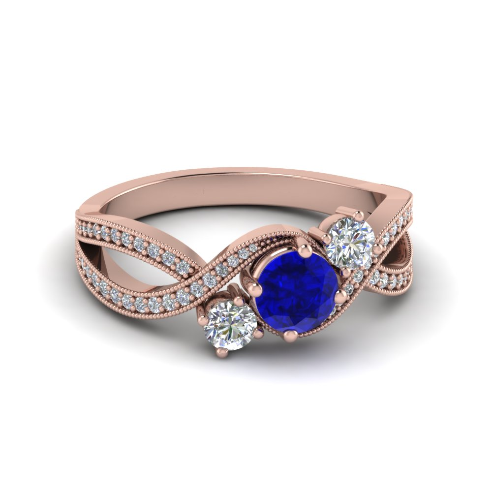 twisted 3 stone sapphire engagement ring in FD8101RORGBS NL RG