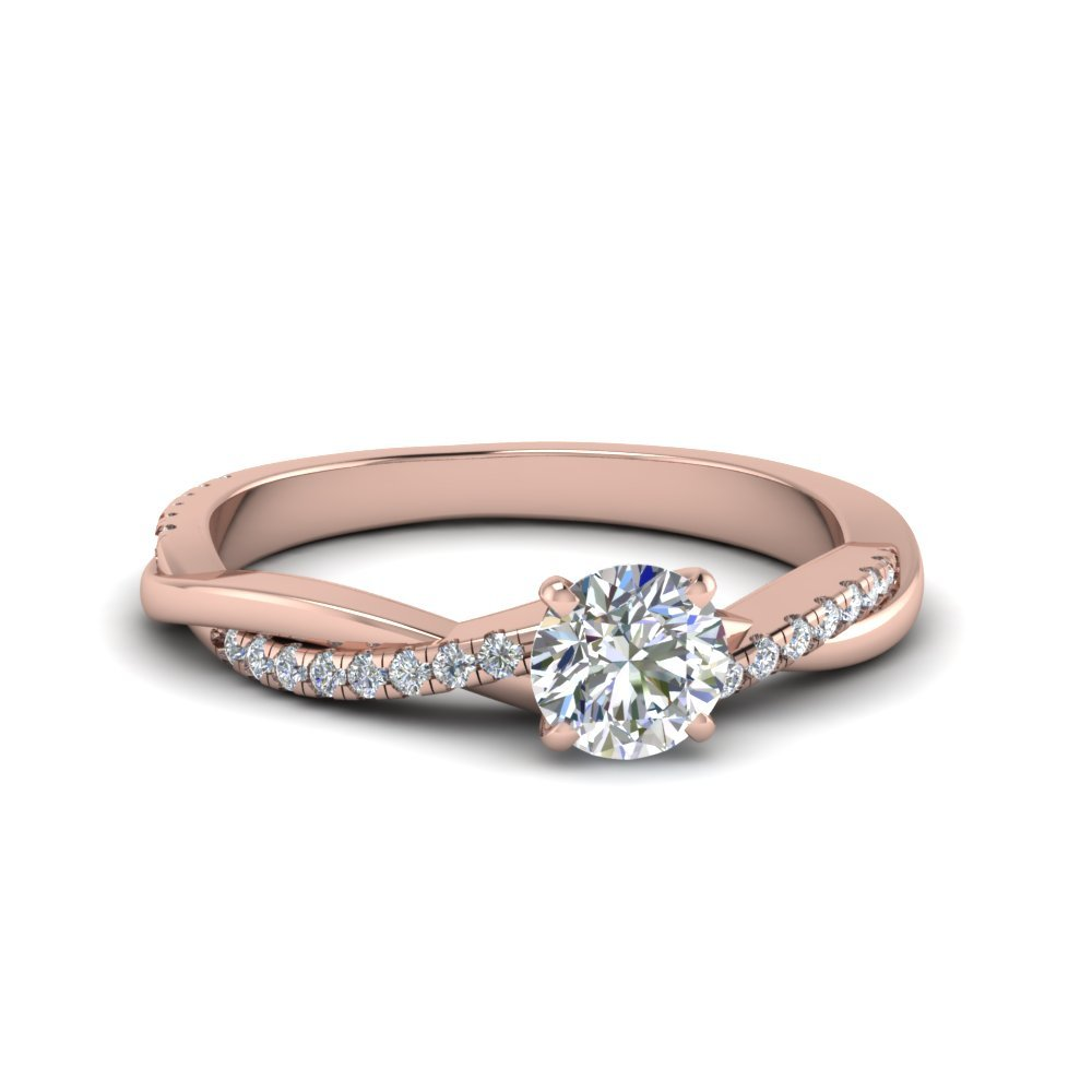 Rose Gold Round Twisted Diamond Ring