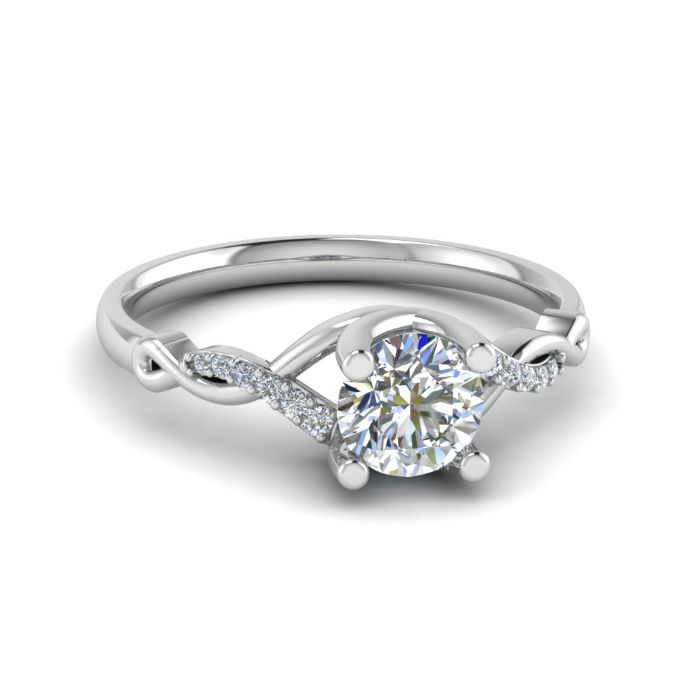 Round U Prong Twisted Diamond Split Shank Engagement Ring In 14K White Gold