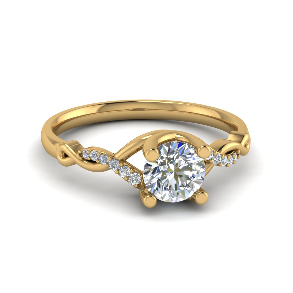 u prong twisted diamond engagement ring in 14K yellow gold FD8077ROR NL YG