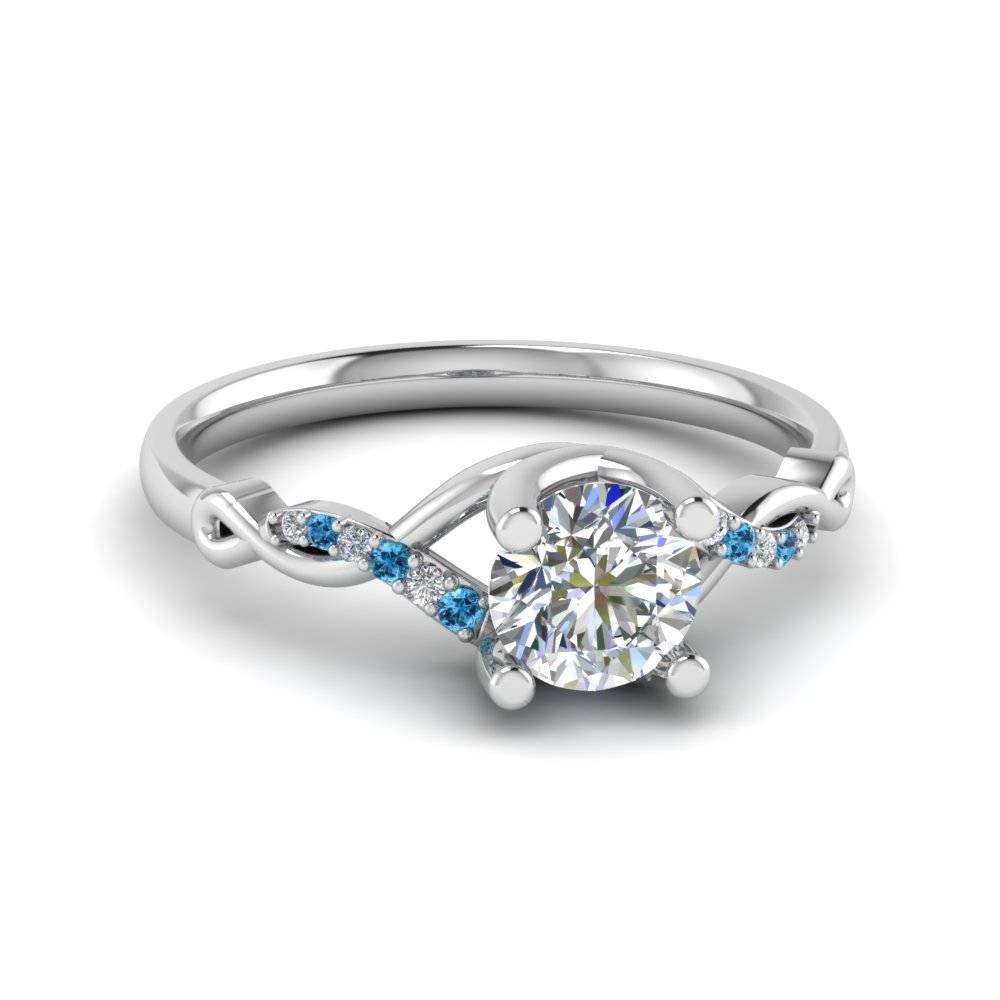 Round U Prong Twisted Diamond Split Shank Engagement Ring With Ice Blue Topaz In 18K White Gold