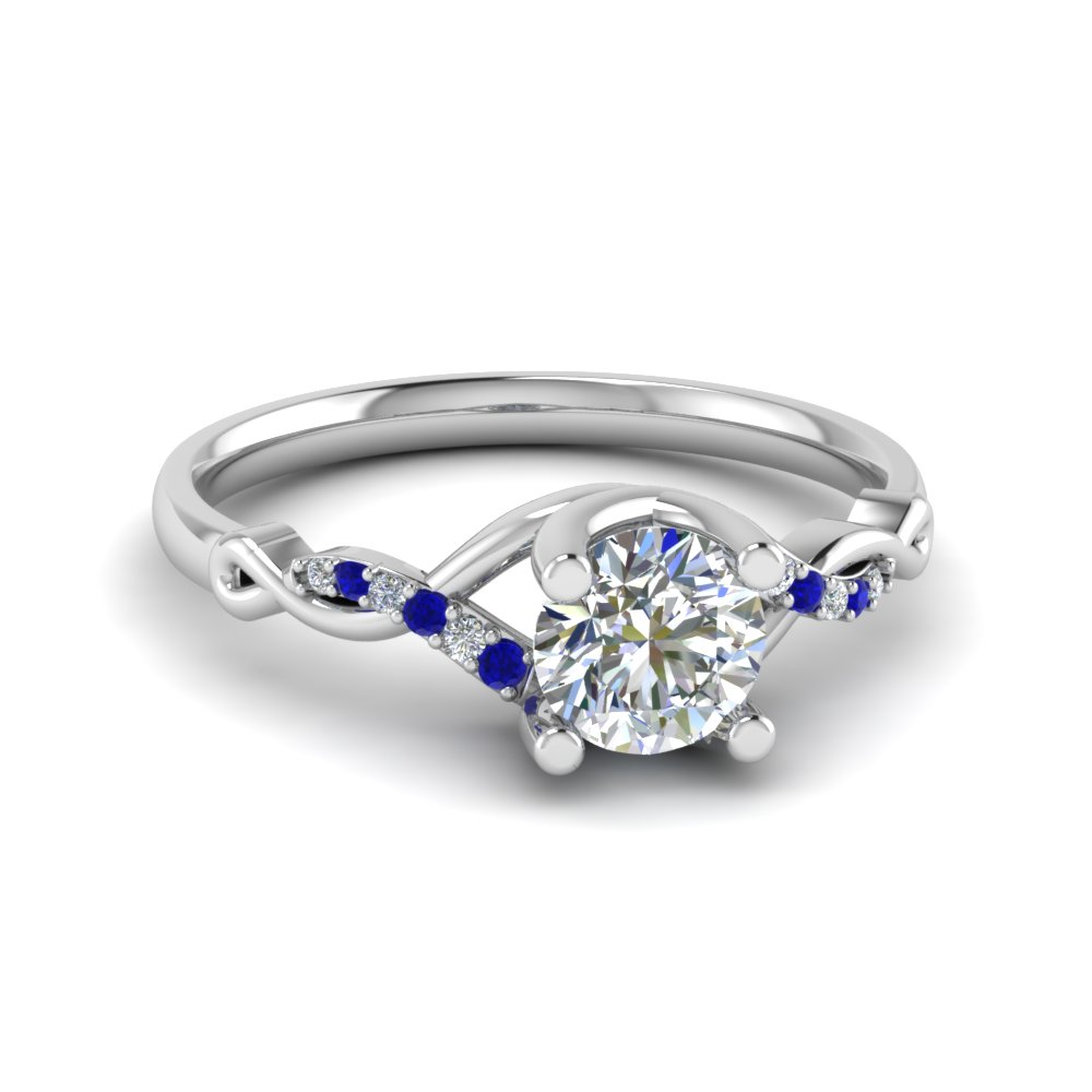Round U Prong Twisted Diamond Split Shank Engagement Ring With Blue Sapphire In 14K White Gold