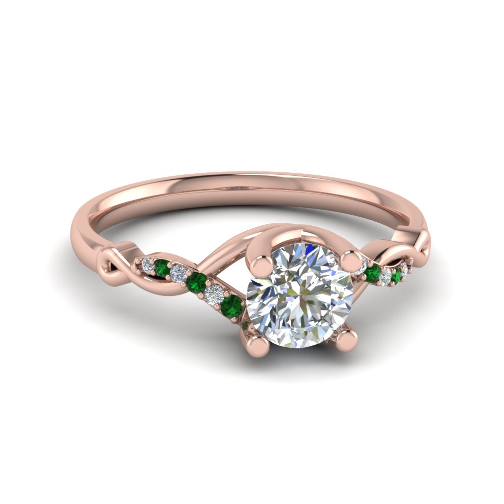 Round U Prong Twisted Diamond Split Shank Engagement Ring With Emerald In 18K Rose Gold