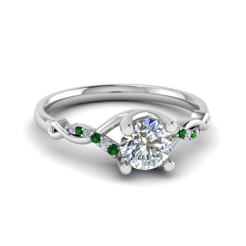 Emerald And Diamond Enement Rings | U Prong Twisted Diamond Engagement Ring With Emerald In 950 Platinum