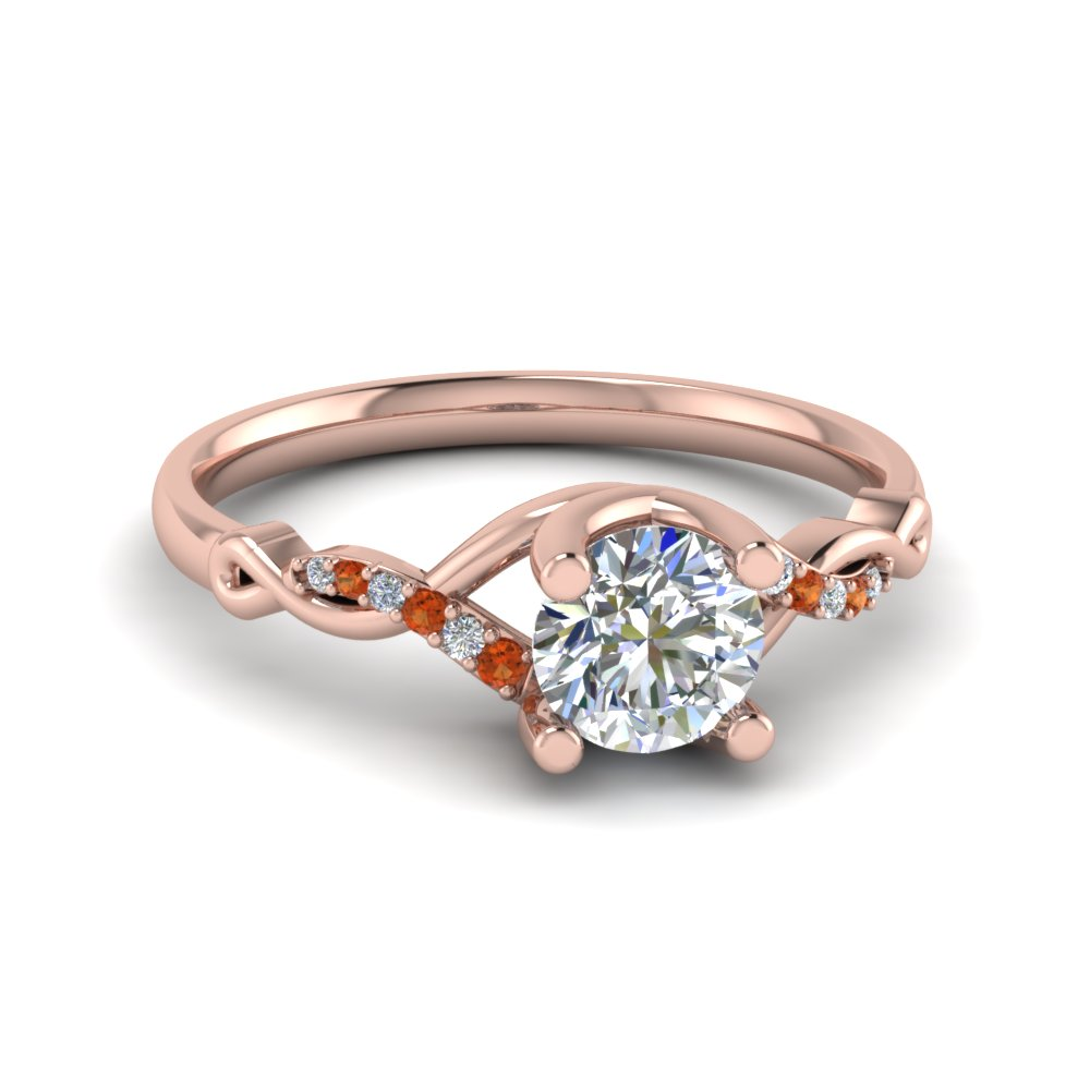 Round U Prong Twisted Diamond Split Shank Engagement Ring With Orange Sapphire In 14K Rose Gold