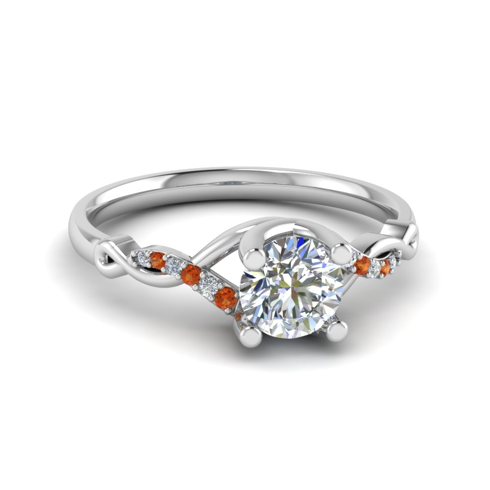 u prong twisted diamond engagement ring with orange sapphire in 14K white gold FD8077RORGSAOR NL WG