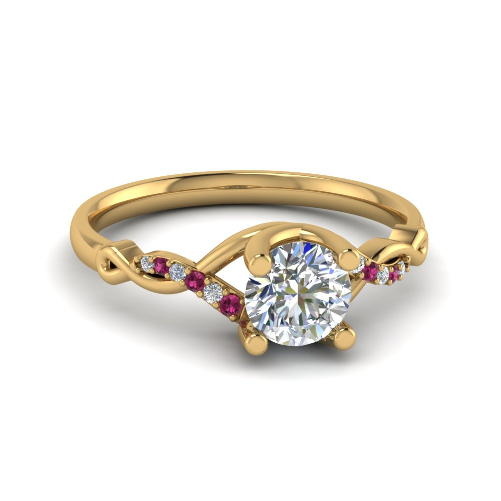Round U Prong Twisted Diamond Split Shank Engagement Ring With Pink Sapphire In 14K Yellow Gold