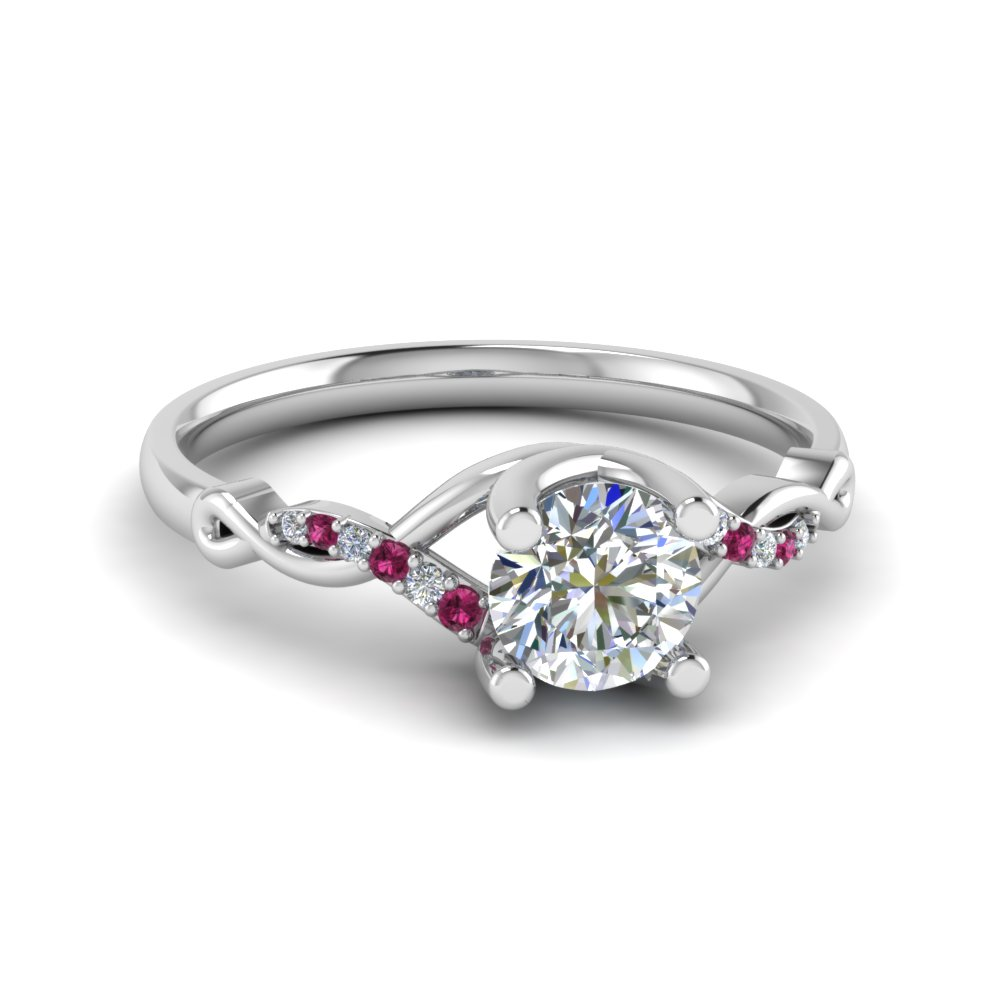 u prong twisted diamond engagement ring with pink sapphire in 950 Platinum FD8077RORGSADRPI NL WG