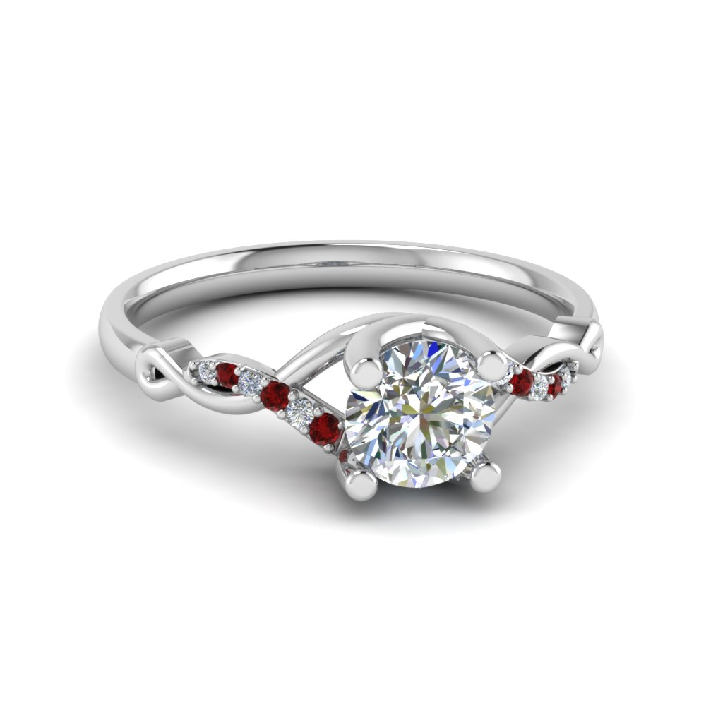 Round U Prong Twisted Diamond Split Shank Engagement Ring With Ruby In 950 Platinum
