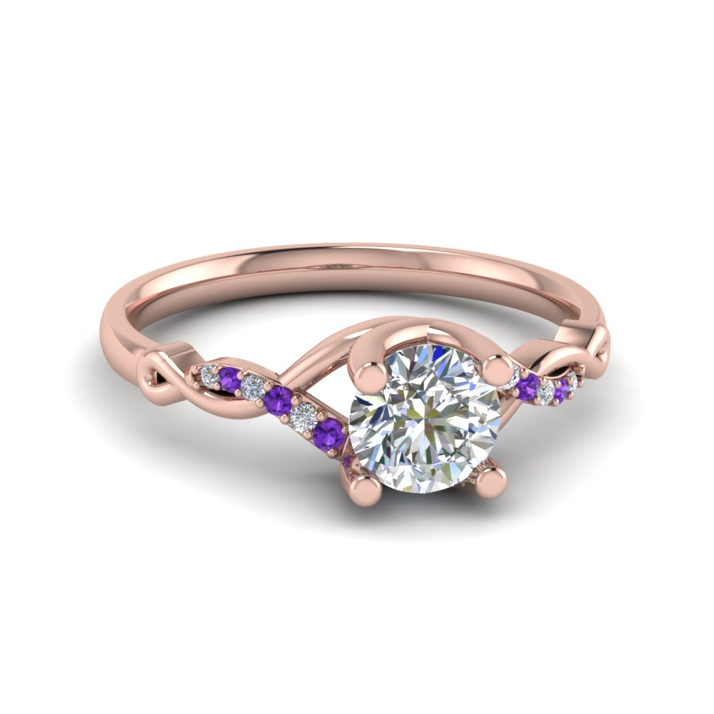 Round U Prong Twisted Diamond Split Shank Engagement Ring With Violac Topaz In 14K Rose Gold