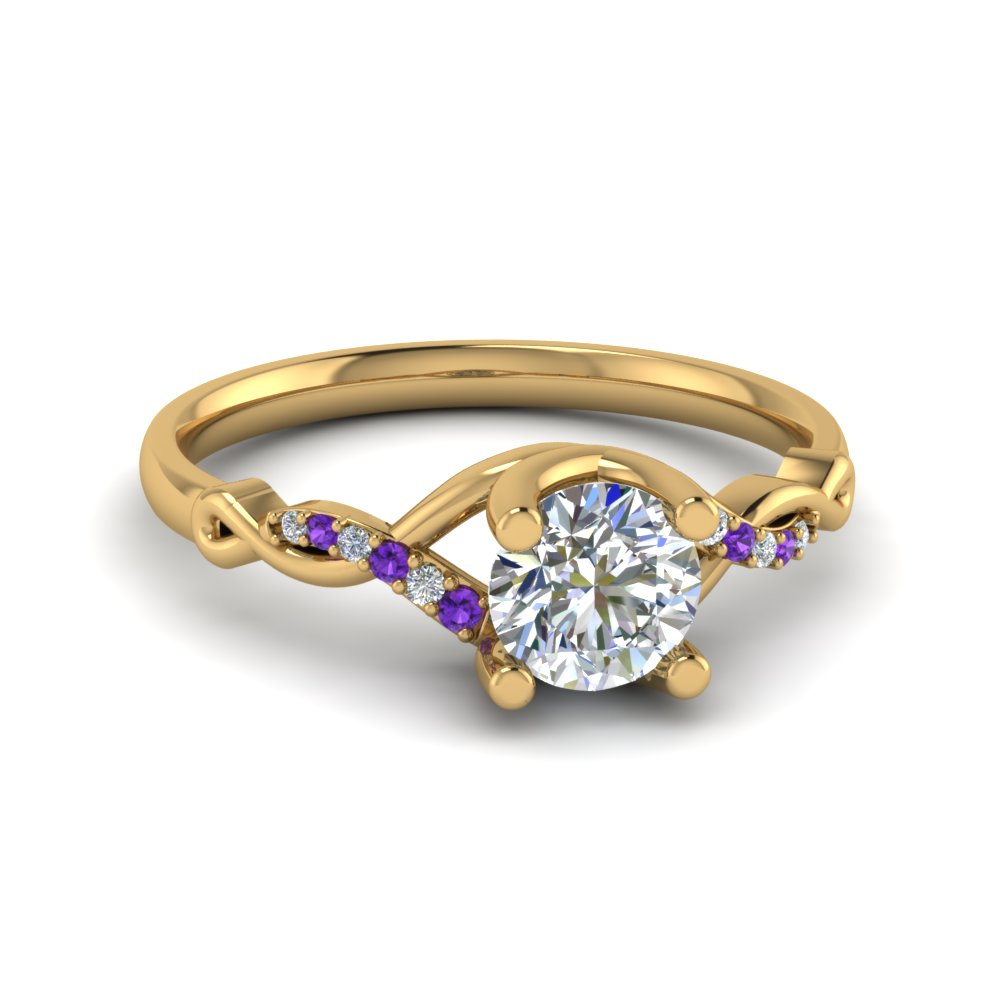 Round U Prong Twisted Diamond Split Shank Engagement Ring With Poppy Topaz In 14K Yellow Gold
