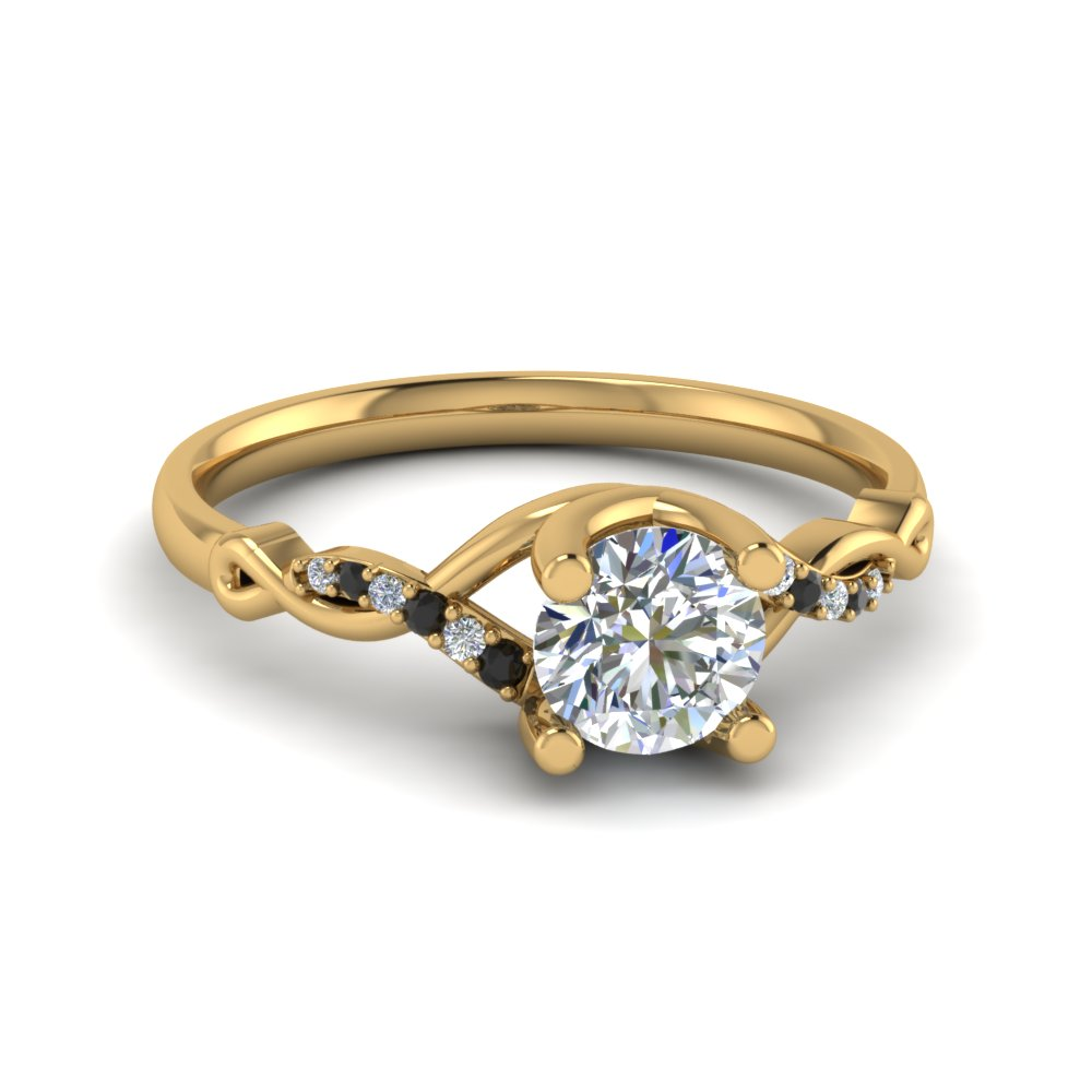 Round U Prong Twisted Split Shank Engagement Ring With Black Diamond In 18K Yellow Gold