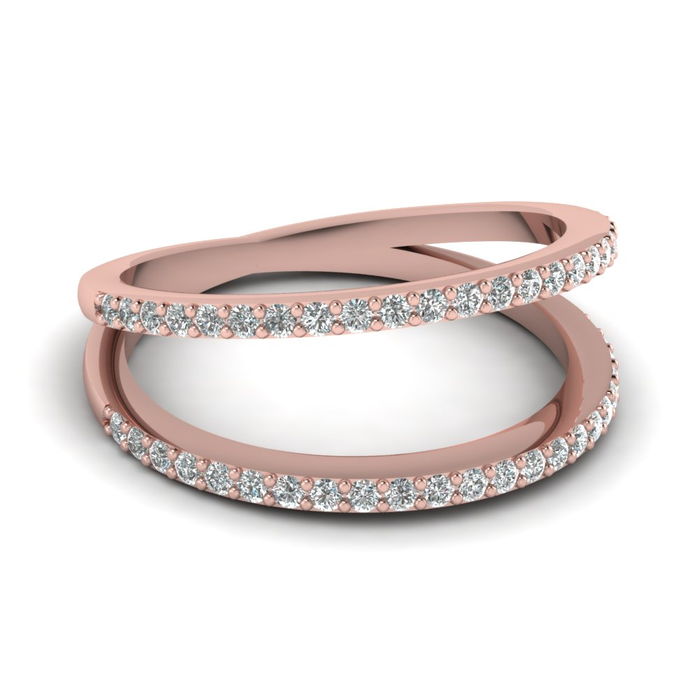 Negative Space Diamond Wedding Band In 14K Rose Gold