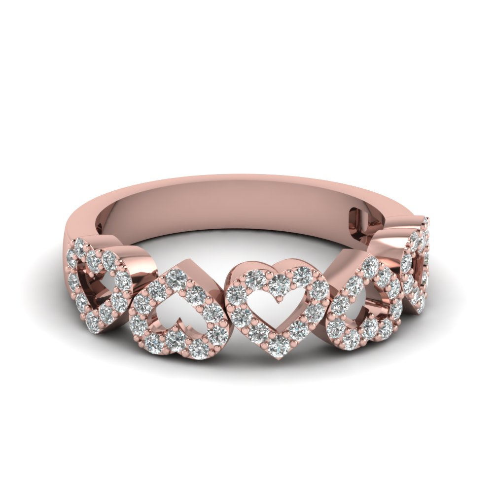 diamond open heart anniversary band in FD1145B NL RG