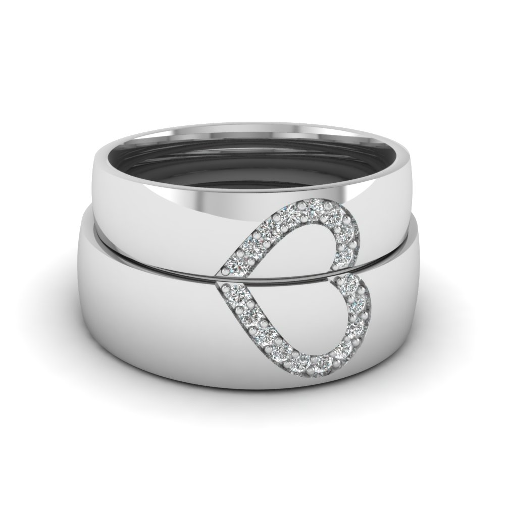 his and her diamond matching band in fd1144b nl wg - His Hers Wedding Rings