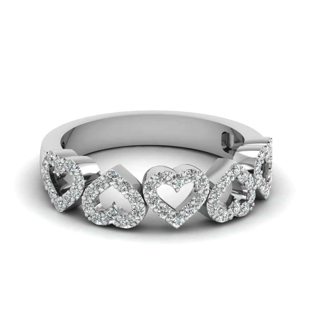 Beautiful Heart Style Diamond Wedding Band