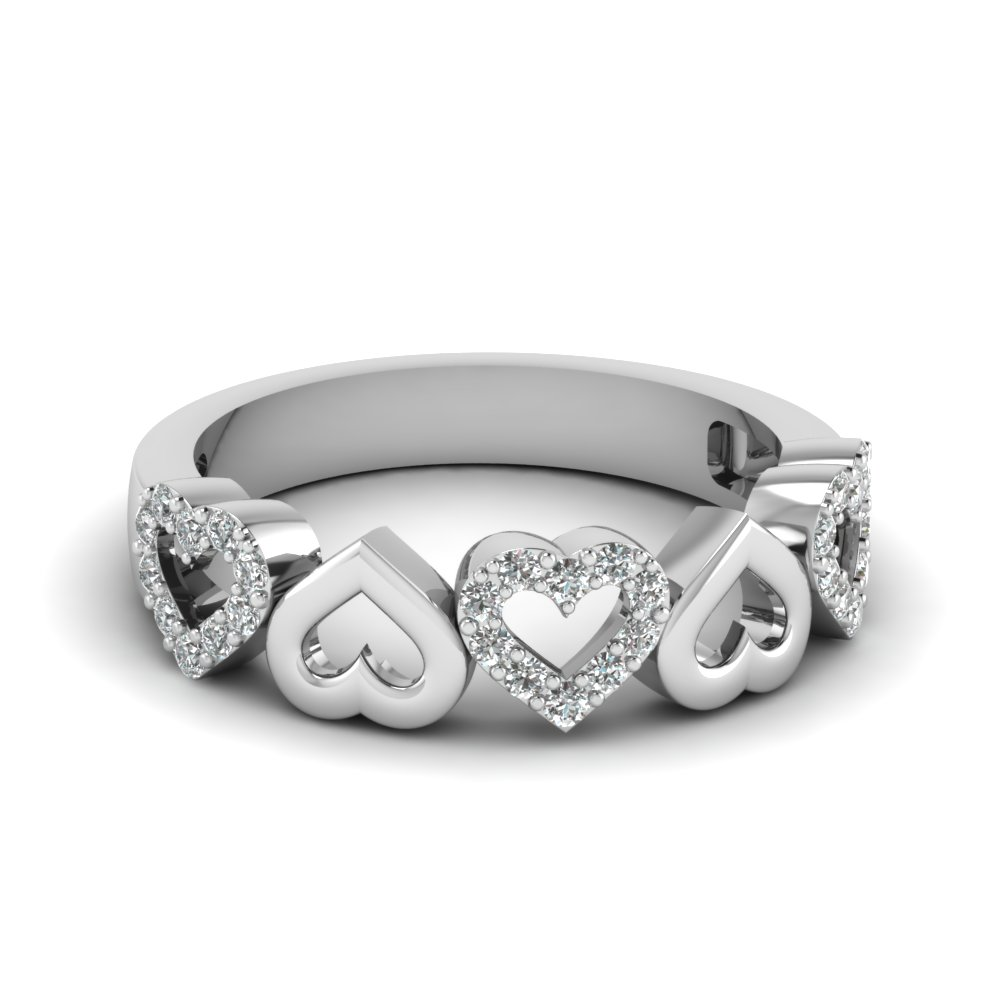heart design diamond wedding band in FD1146B NL WG
