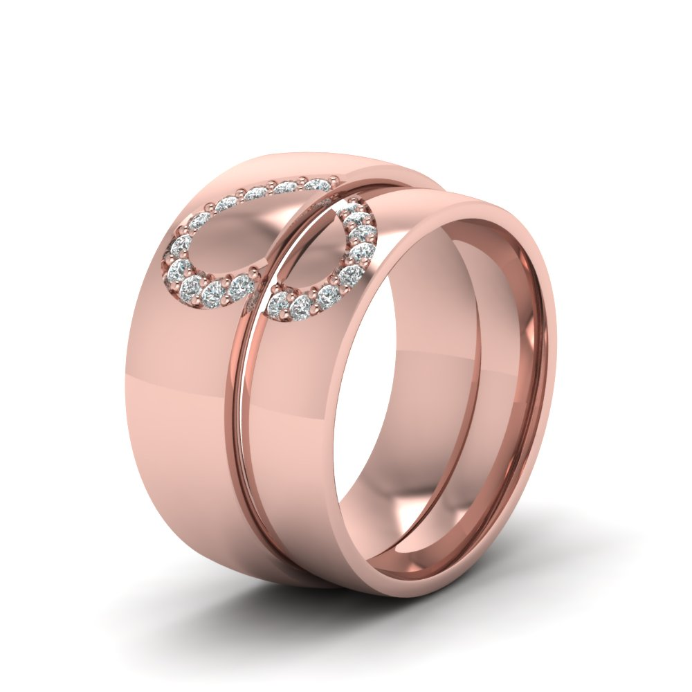 His And Her Diamond Matching Band In 18K Rose Gold | Fascinating ...