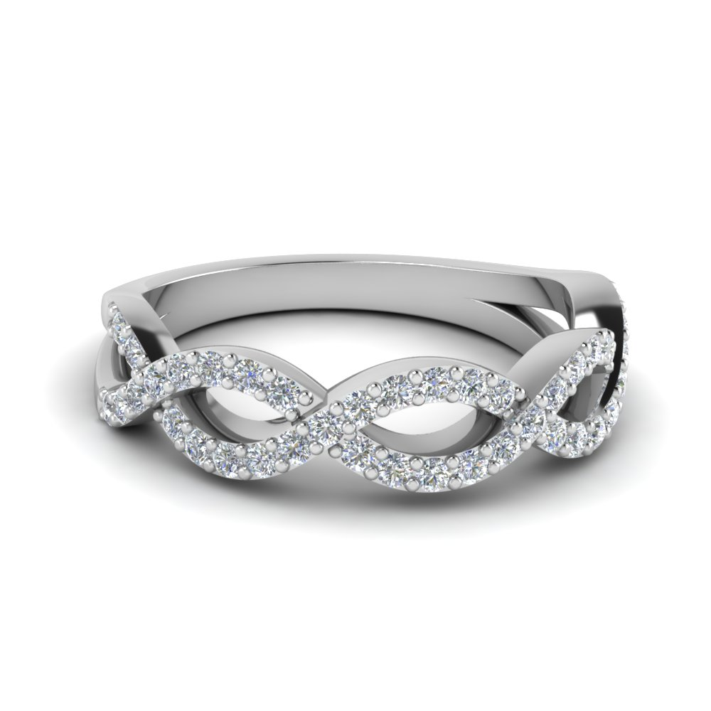Infinity Twist Diamond Wedding Band In 14K White Gold