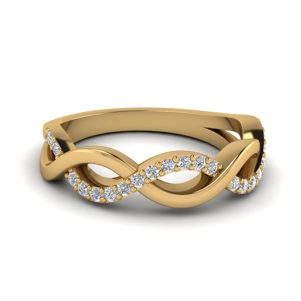 Infinity Diamond Wedding Band In 14K Yellow Gold Fascinating Diamonds