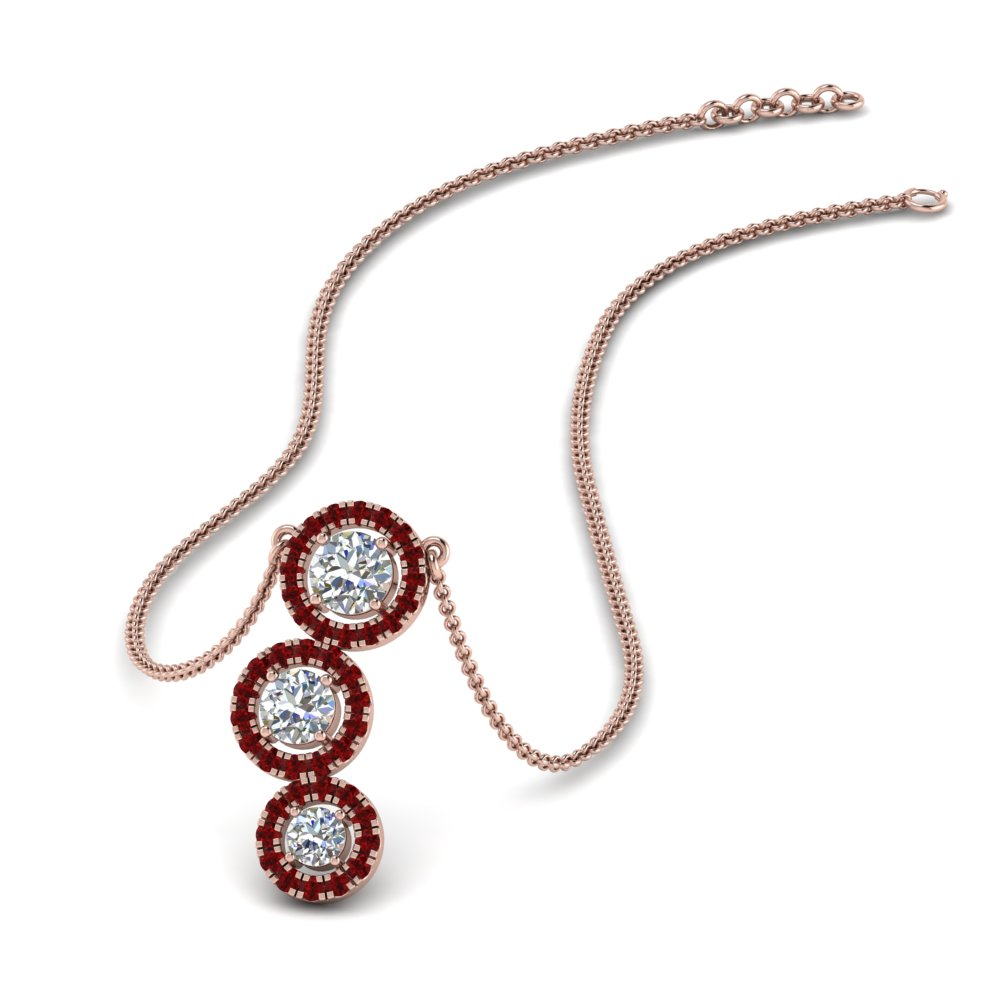 ruby 3 halo diamond drop pendant in FDPD8962GRUDR NL RG
