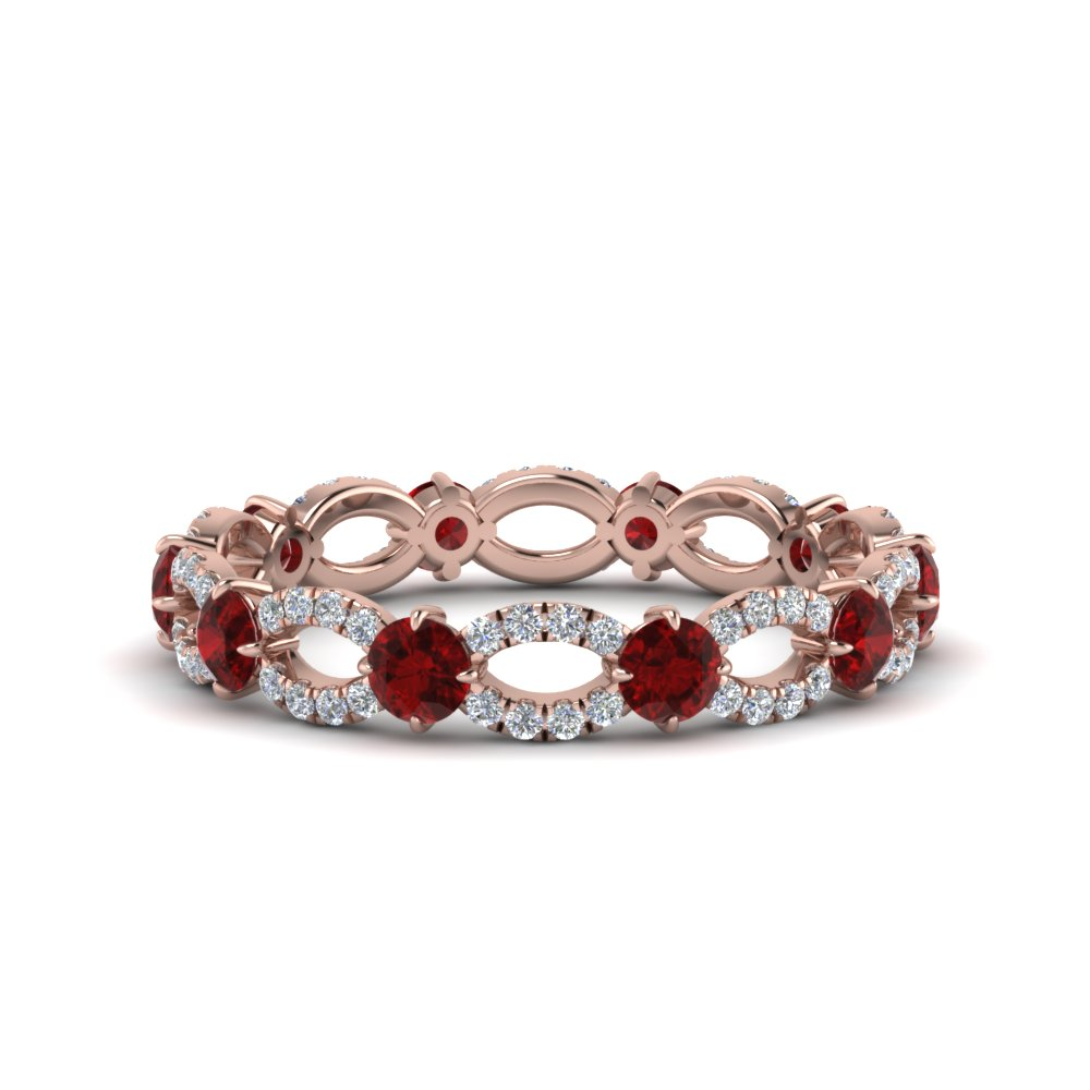 ruby and diamond eternity ring in 18K rose gold FDEWB8376BGRUDR NL RG