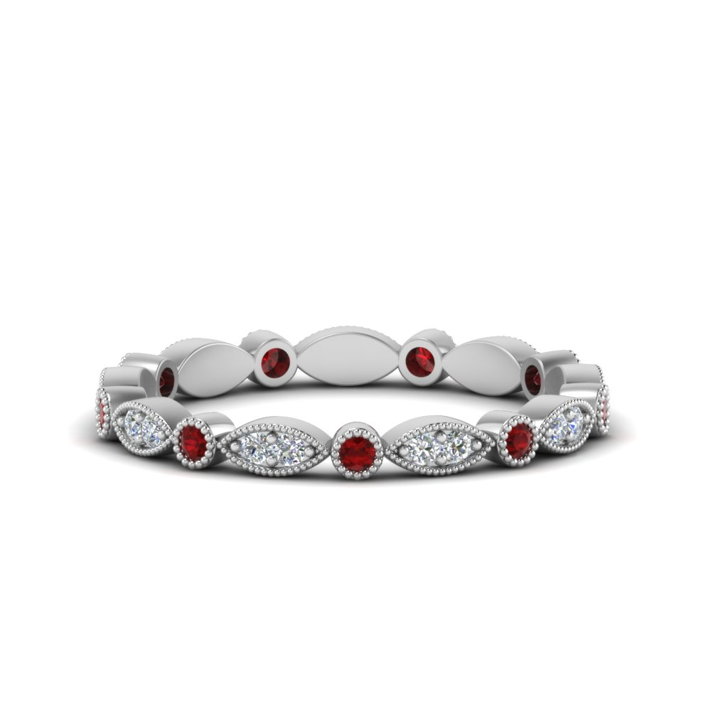 0.35 Ct. Art Deco Ruby Eternity Band
