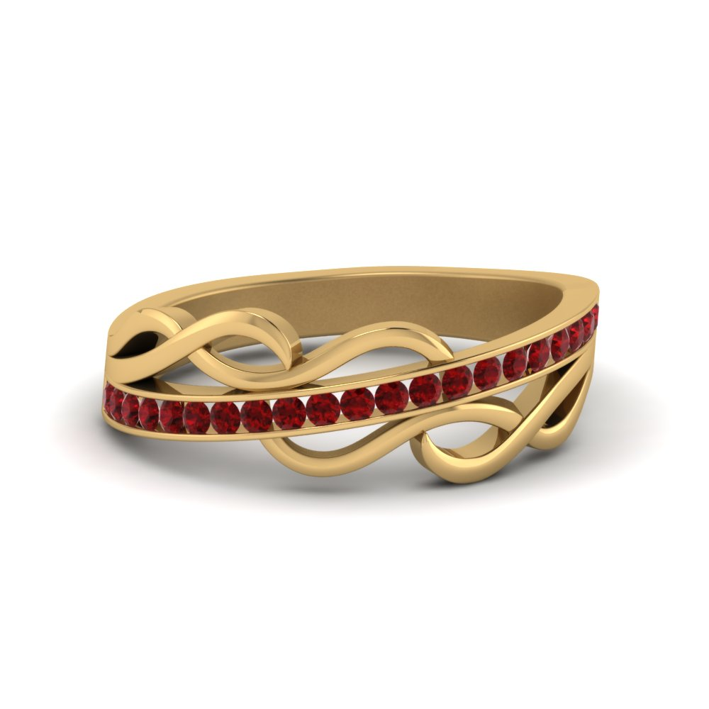 Ruby Twisted Wedding Band