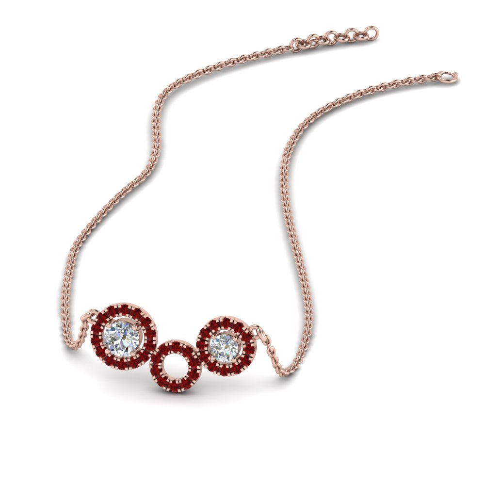 ruby circle diamond pendant necklace in FDPD8935GRUDR NL RG