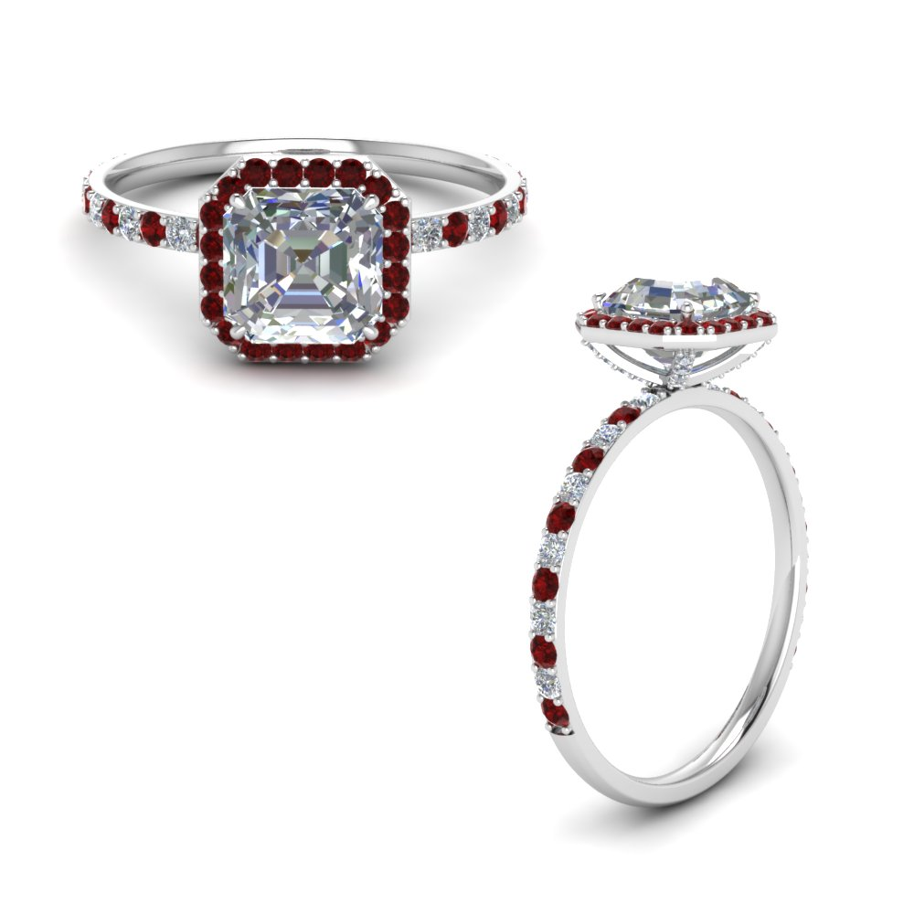 ed6d319cb41348 Delicate Asscher Halo Diamond Ring Asscher Cut diamond Petite Engagement  Rings with Red Ruby in 14K White Gold [ Setting + Center Stone ]