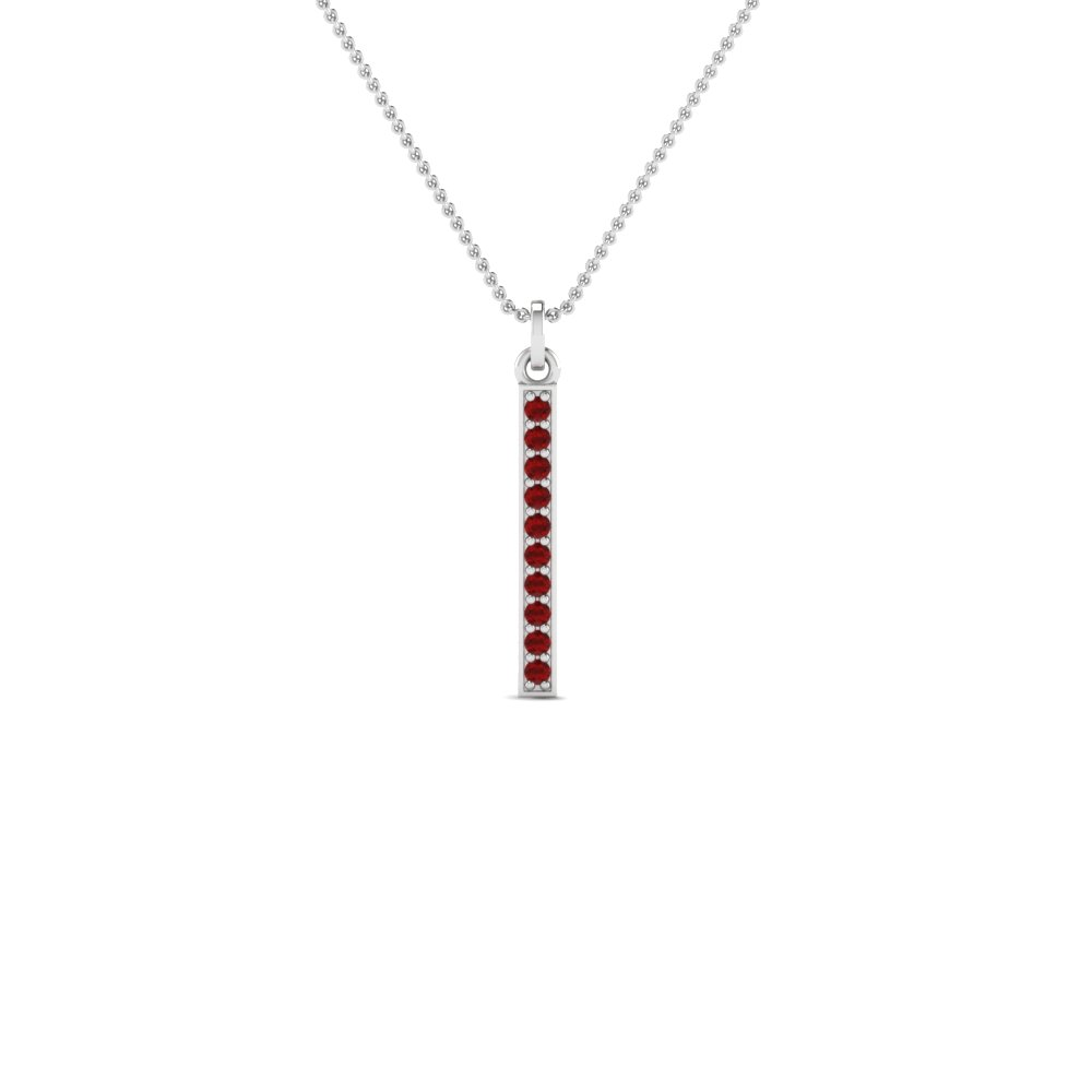 Ruby Pave Bar Pendant Necklace
