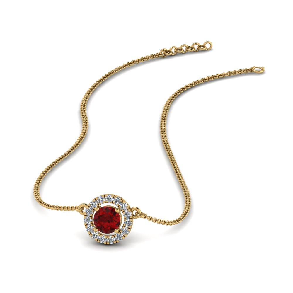 0.30 ct. diamond halo ruby pendant necklace in FDPD8997GRUDR NL YG