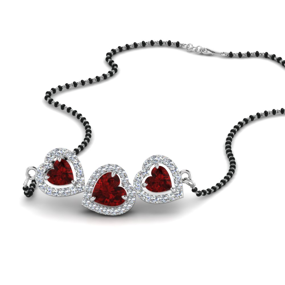 18K White Gold Mangalsutra With 3 Ruby Heart
