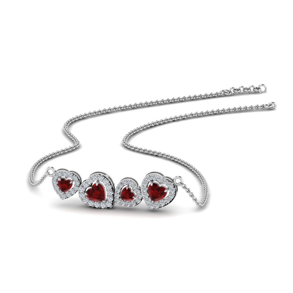 Heart Halo Ruby Necklace