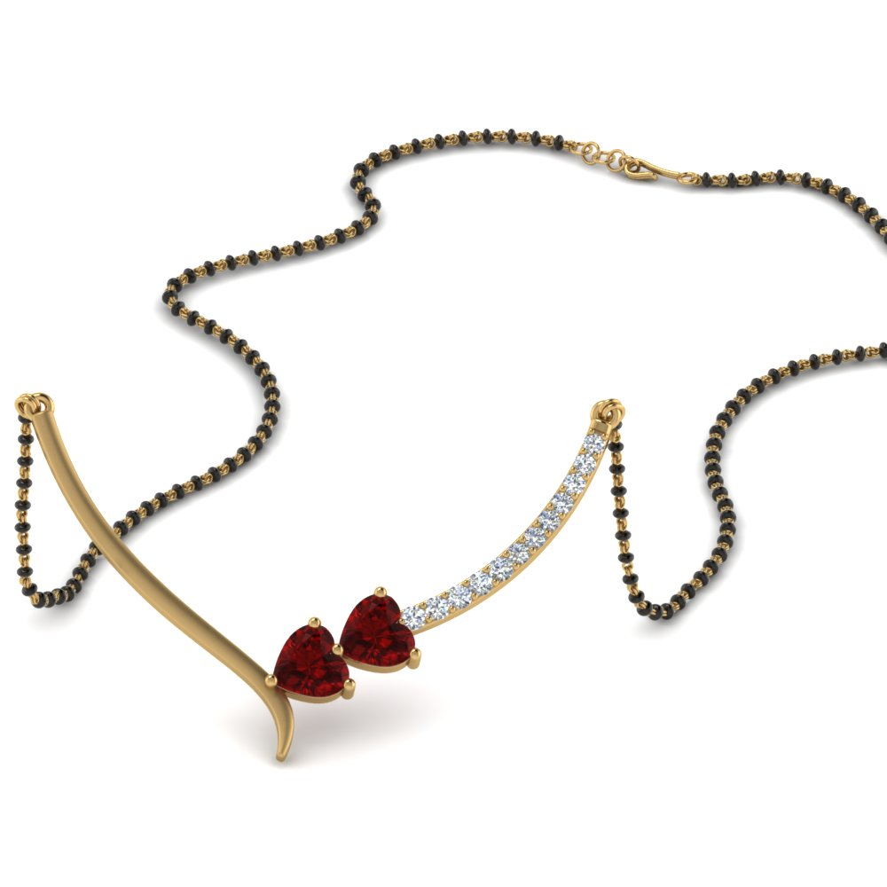 Double Heart Ruby Mangalsutra