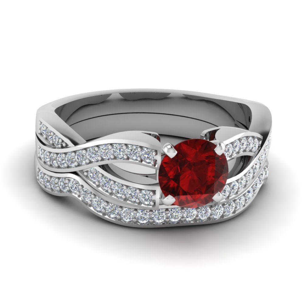 Infinity Ruby Bridal Set