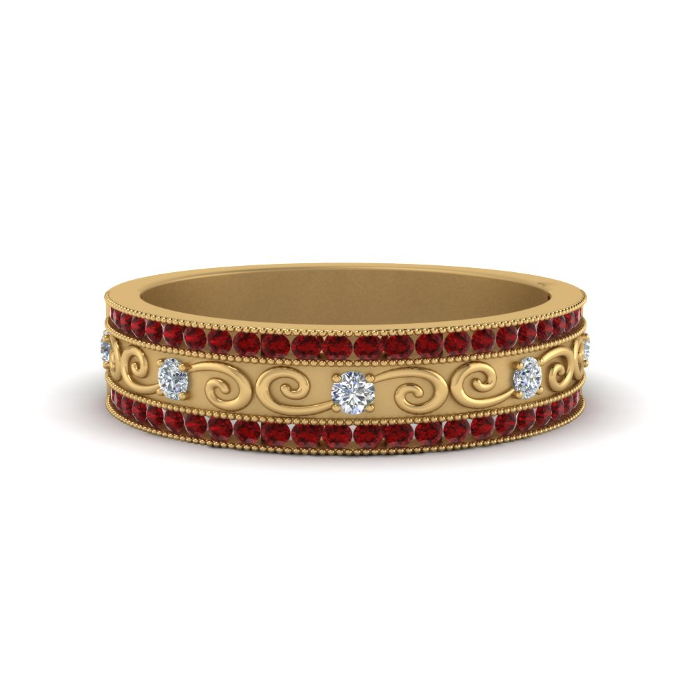 Ruby Milgrain Channel Diamond Wedding Band In 18K Yellow Gold