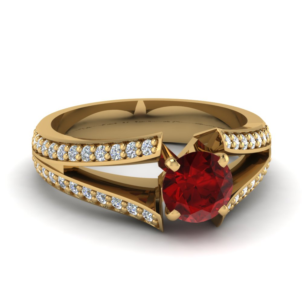 ruby pave split shank engagement ring in 14K yellow gold FDENR2774RORGRD NL YG