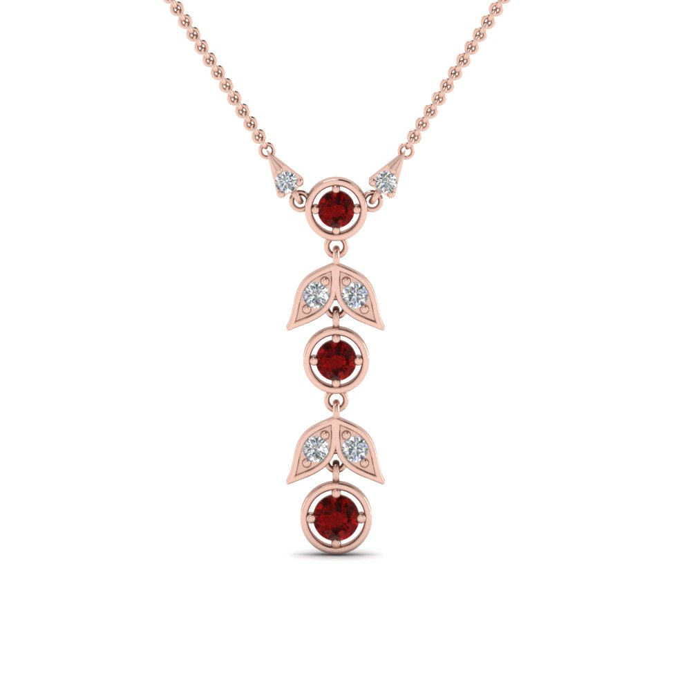 ruby petal diamond drop necklace in FDPD8598GRUDRANGLE2 NL RG
