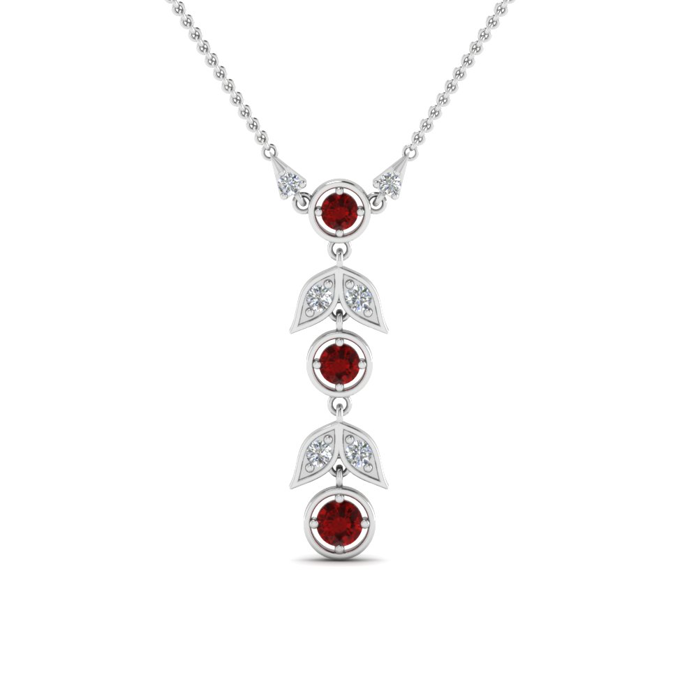 Ruby Drop Diamond Necklace