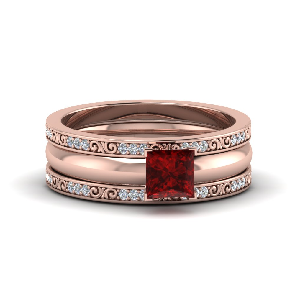 ruby princess cut trio bridal ring set in FD8352PRRGRD NL RG.jpg
