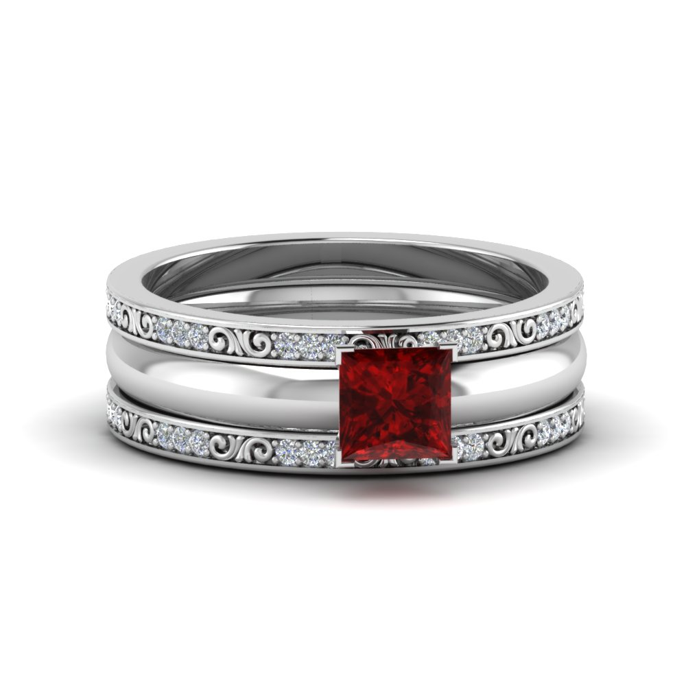 Ruby Princess Cut Trio Bridal Ring Set