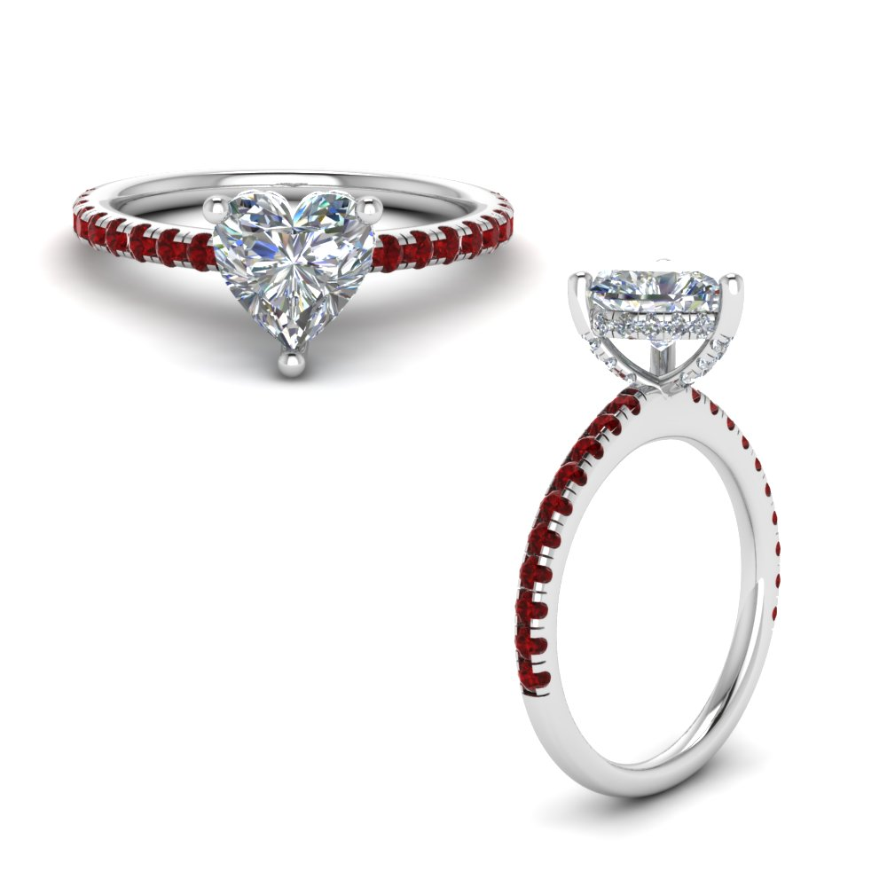ed5e6558ceb71a Diamond Prong Heart Shaped Petite Ring Heart Shaped diamond Petite Engagement  Rings with Red Ruby in 14K White Gold [ Setting + Center Stone ]