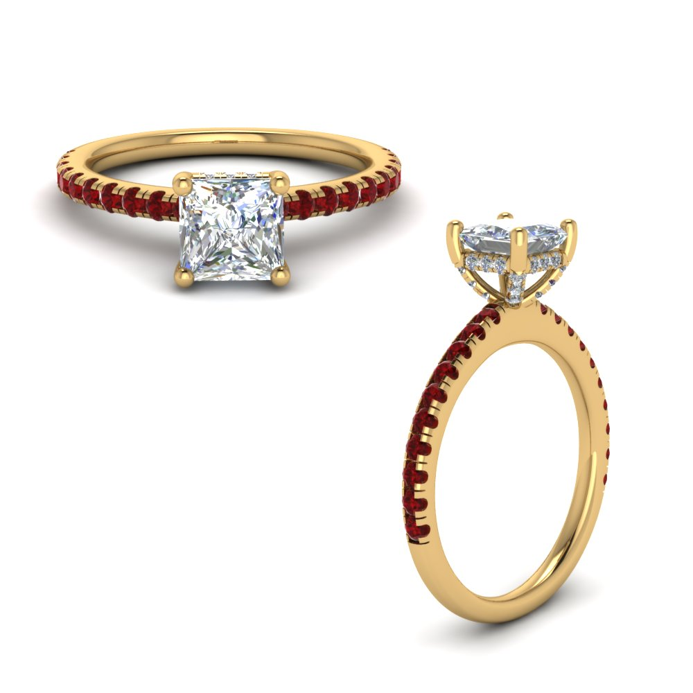 Ruby Prong Princess Cut Petite Ring