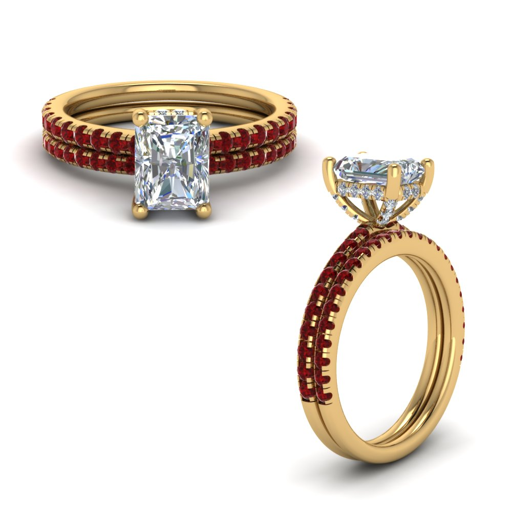 ruby prong radiant cut diamond petite bridal set in FD8523RAGRUDRANGLE1 NL YG GS