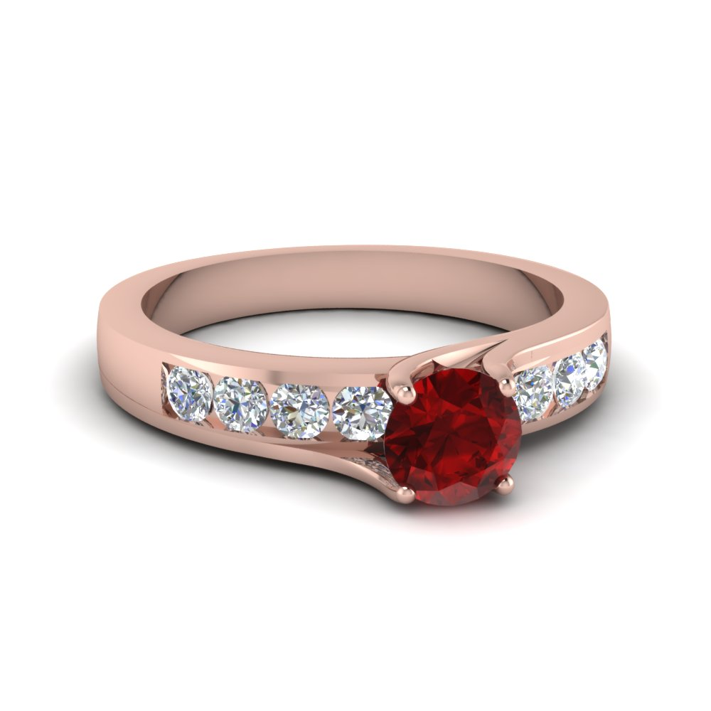 Colored Swirl Ruby Engagement Ring