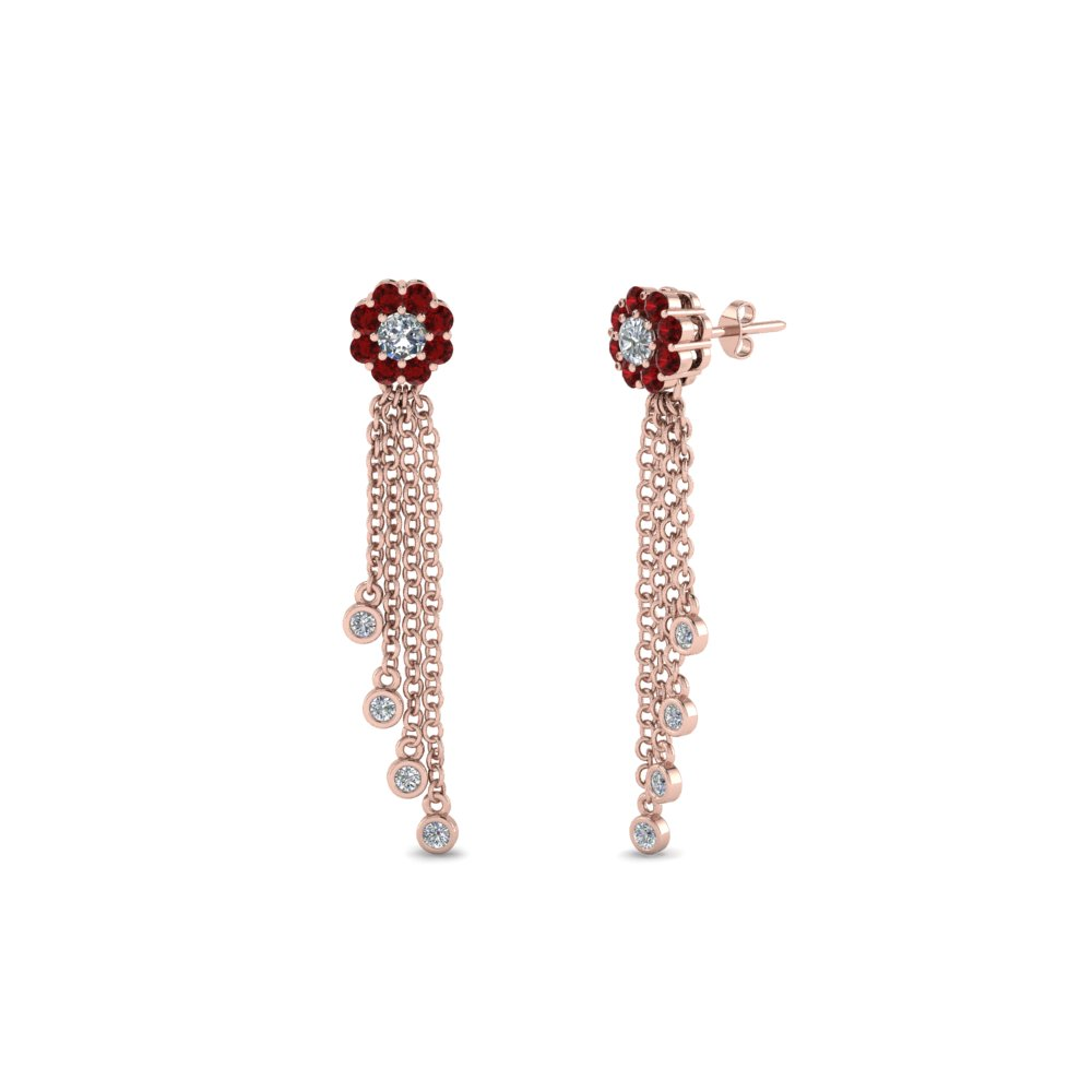 Tel Halo Ruby Diamond Earring