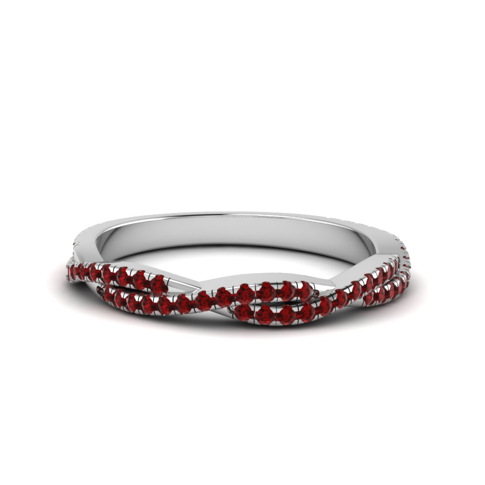 Twisted Ruby Wedding Band