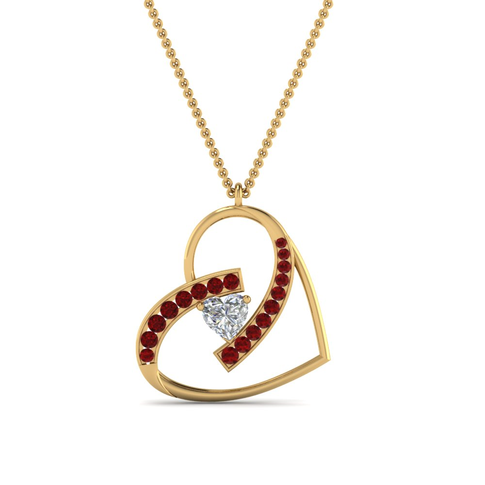 Ruby With Heart Diamond Pendant