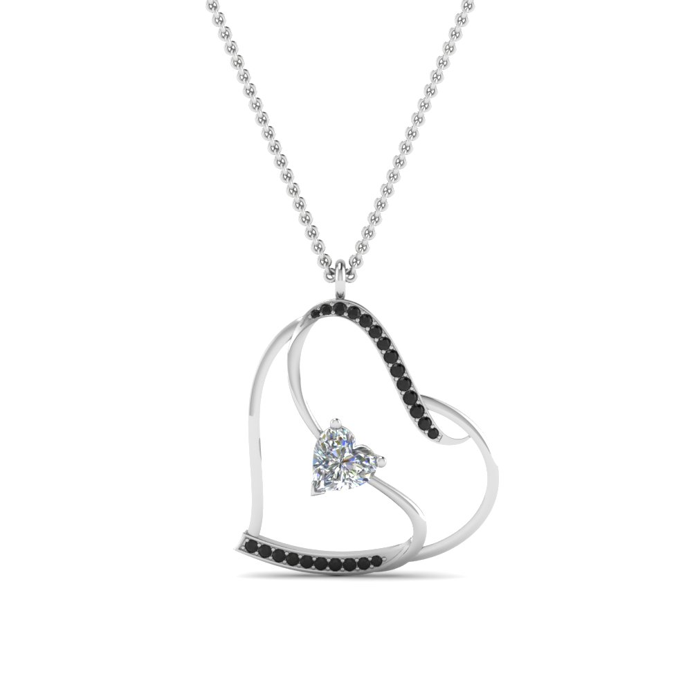 Heart Design Black Diamond Pendant
